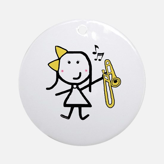 Girl & Trombone Ornament (Round)