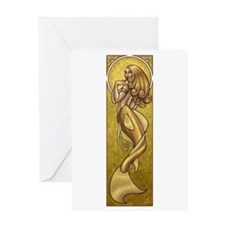 Gold Mermaid Nouveau Greeting Card