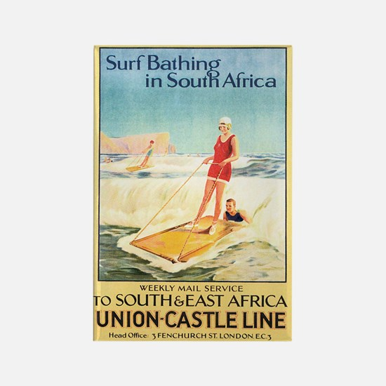 South Africa Surfing Rectangle Magnet