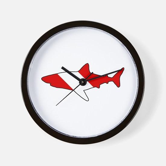 Diving Flag: Shark Wall Clock