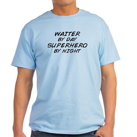 Waiter Superhero by Night Light T-Shirt