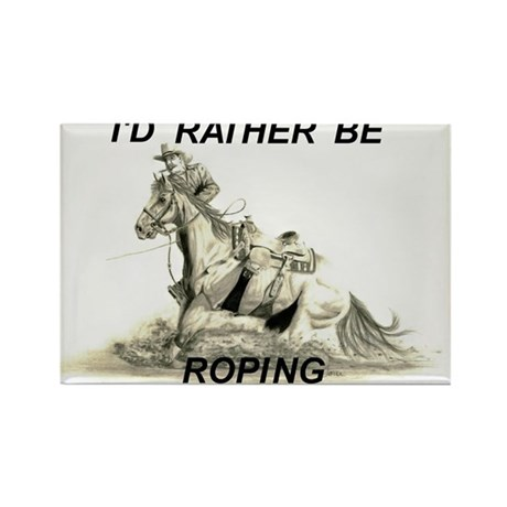 Rather Be Roping Rectangle Magnet (10 pack)