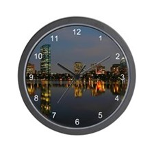 Boston Back Bay at Night Wall Clock