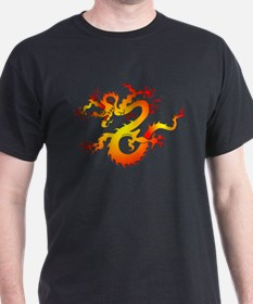 Orange Dragon Tattoo Art (Front) T-Shirt
