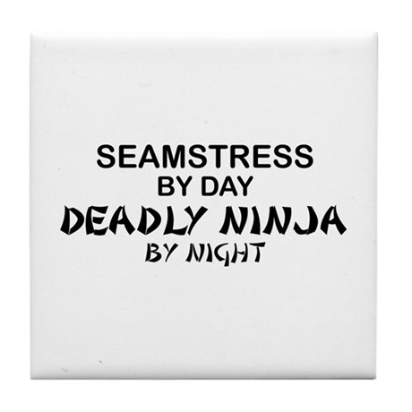 Seamstress Deadly Ninja by Night Tile Coaster