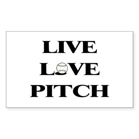 Live Love Pitch Rectangle Sticker