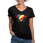 Heart Seychelles Women's V-Neck Dark T-Shirt