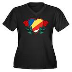 Heart Seychelles Women's Plus Size V-Neck Dark T-S