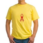 Pink Ribbon with heart Breast Yellow T-Shirt