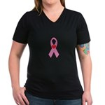 Pink Ribbon with heart Breast Women's V-Neck Dark