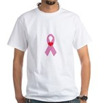 Pink Ribbon with heart Breast White T-Shirt