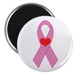 Pink Ribbon with heart Breast Magnet