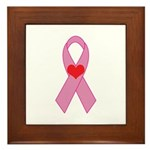 Pink Ribbon with heart Breast Framed Tile