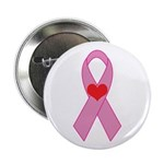 Pink Ribbon with heart Breast 2.25