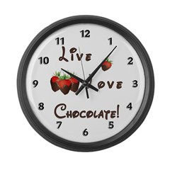 Live Love Chocolate Large Wall Clock