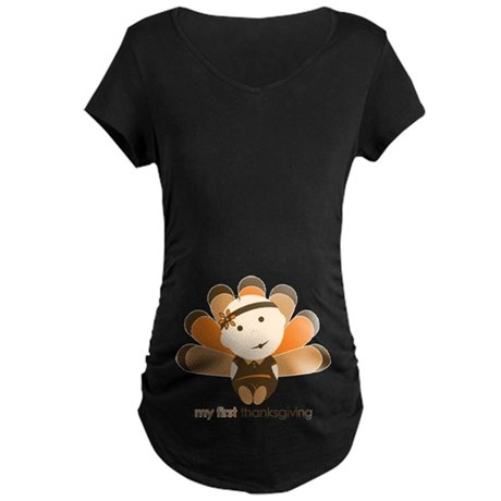 First Thanksgiving Baby Maternity Dark T-Shirt