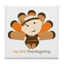 First Thanksgiving Baby Tile Coaster