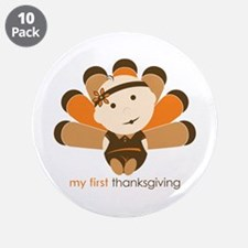 """First Thanksgiving Baby 3.5"""" Button (10 pack)"""