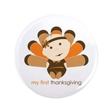 """First Thanksgiving Baby 3.5"""" Button (100 pack)"""