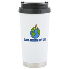 global warming isn't cool Travel Mug
