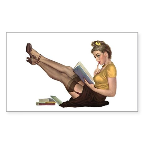 Librarian Girl Rectangle Sticker