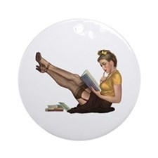 Librarian Girl Keepsake (Round)