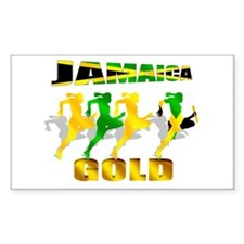 Jamaican flag gold winners Rectangle Decal