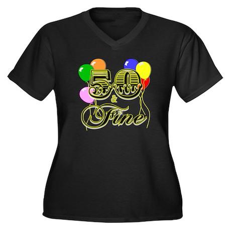 50 and Fine Birthday Women's Plus Size V-Neck Dark