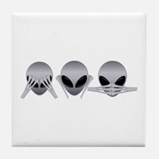 See No Evil Alien Tile Coaster