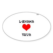 L'shana Tova means Happy New Oval Decal