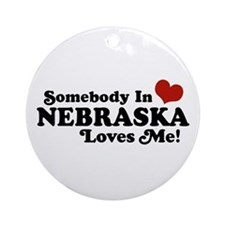 Somebody in Nebraska Loves Me Ornament (Round)