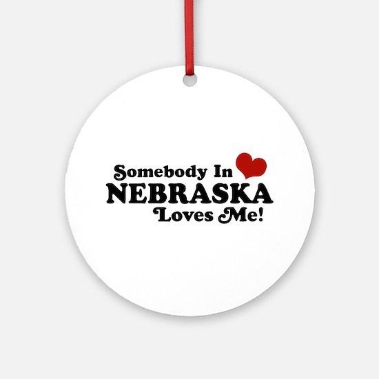 Somebody in Nebraska Loves Me Ornament (Round)