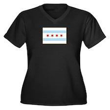 Chicago Flag Women's Plus Size V-Neck Dark T-Shirt