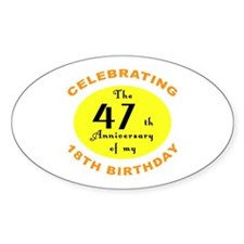 Celebrating 65th Birthday Gifts Oval Decal