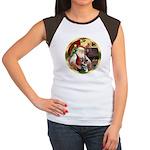 Santa's German Shepherd #15 Women's Cap Sleeve T-S
