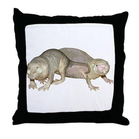 Naked Mole Rats Throw Pillow