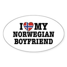 I Love My Norwegian Boyfriend Oval Decal