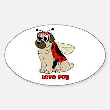 Love Pug Oval Decal