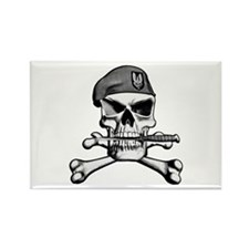 SAS Skull and Bones Rectangle Magnet