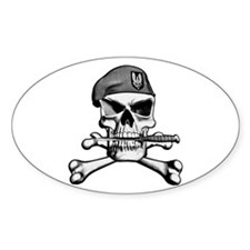SAS Skull and Bones Oval Stickers