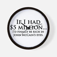 Rich in McCain's eyes Wall Clock