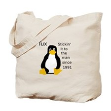 Tux Stickin to the man Tote Bag