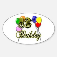 13th Birthday Oval Decal