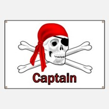 Pirate Captain Skull and Bones Banner