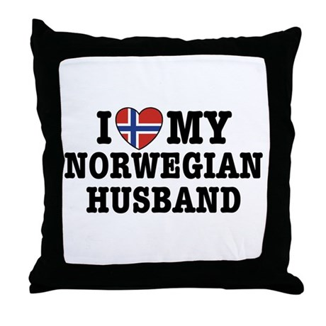 I Love My Norwegian Husband Throw Pillow