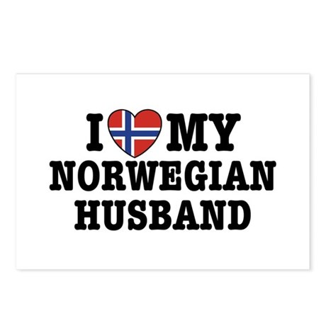 I Love My Norwegian Husband Postcards (Package of