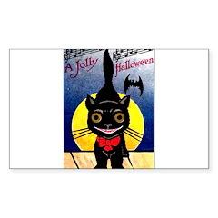 Black Cat Halloween Rectangle Decal