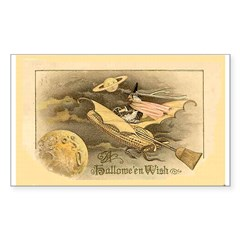 Flying Witch Rectangle Sticker 10 pk)