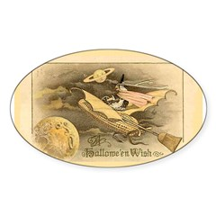 Flying Witch Oval Sticker (10 pk)
