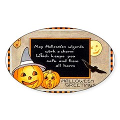 Halloween Wizards Oval Sticker (50 pk)